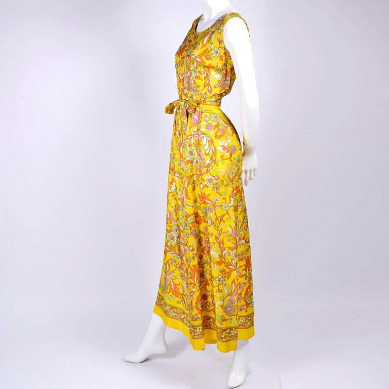 Vintage Floral Yellow Jumpsuit