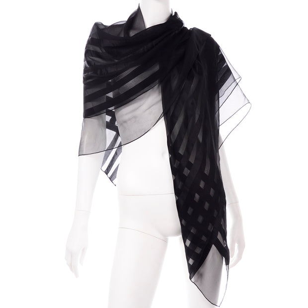 YSL Vintage Yves Saint Laurent Foulards Silk Oversized Large Black Sheer Scarf or Shawl Wrap