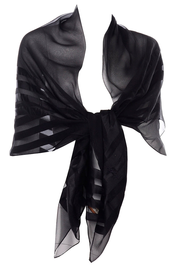 Yves Saint Laurent Foulards Silk Oversized Large Black Sheer Scarf or Shawl Wrap Vintage