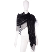 Yves Saint Laurent Foulards Silk Oversized Large Black Sheer Scarf or Shawl Wrap Foulard