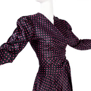 Yves Saint Laurent Rive Gauche 1980's polka dot wrap top and skirt