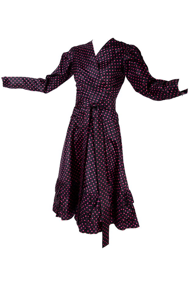 Vintage YSL polka dot wrap dress
