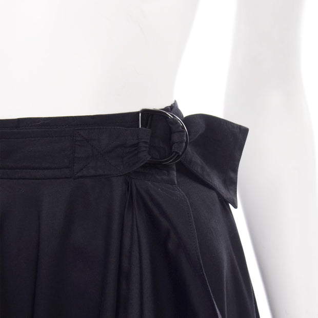 Vintage YSL Yves Saint Laurent faux wrap black skirt with unique details & belt