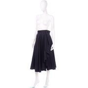 Vintage YSL Yves Saint Laurent faux wrap black skirt with unique details