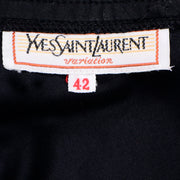 Vintage YSL Yves Saint Laurent faux wrap black skirt with unique details size 42
