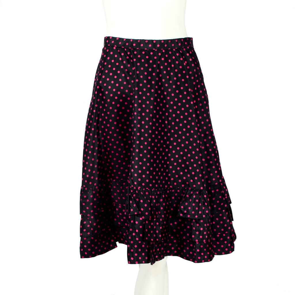 Yves Saint Laurent Rive Gauche 1970's polka dot wrap top and skirt dress