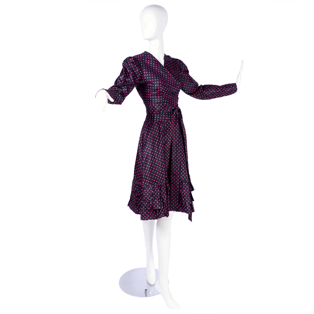 2 Piece vintage YSL dress with wrap top and ruffle skirt