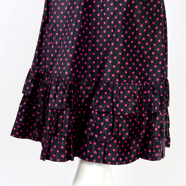 YSL pink polka dot wrap top and ruffle skirt