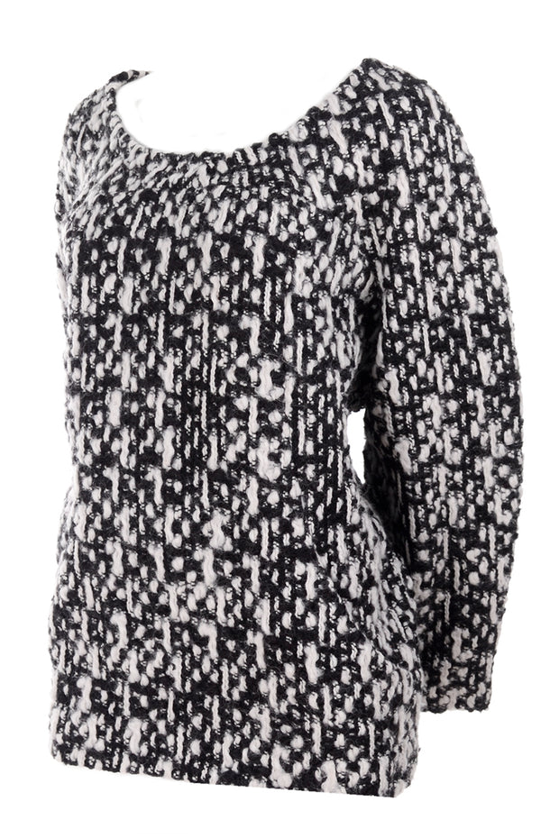 2011 Yves Saint Laurent Black and White Knit Sweater