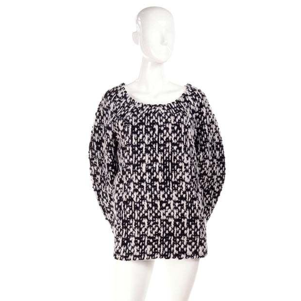 Black and white chunky knit YSL scoop neck sweater