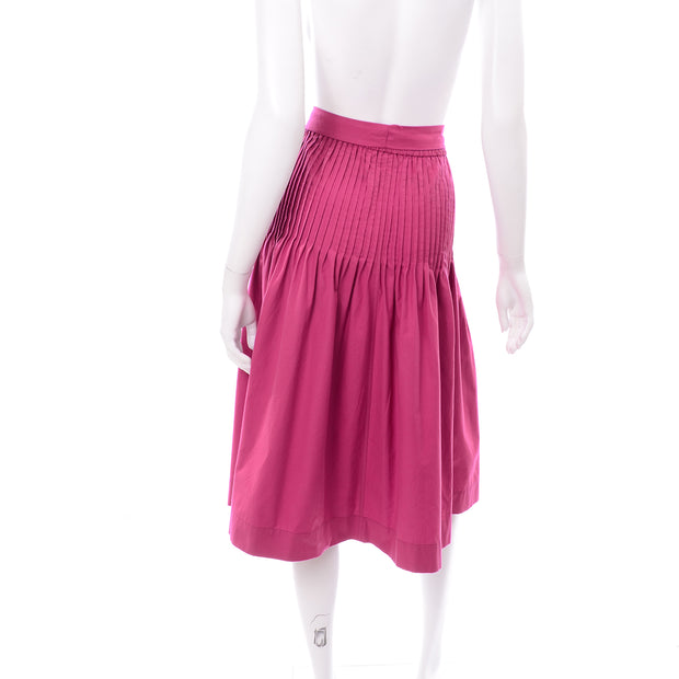 1970s YSL Pink Skirt w/ Pleats Size 6/8