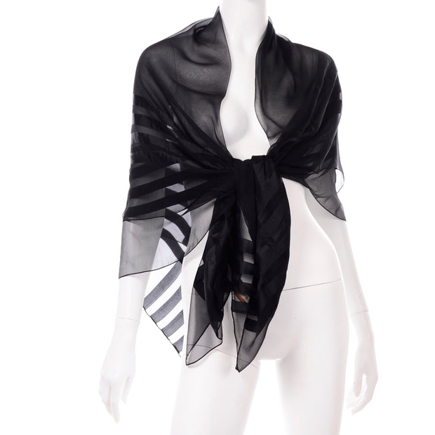 Yves Saint Laurent Foulards Silk Oversized Large Black Sheer Scarf or Shawl Wrap YSL logo
