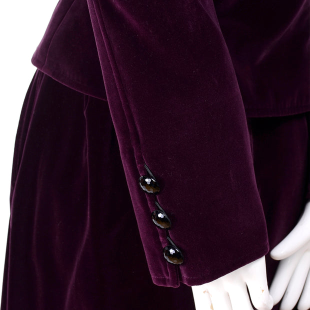 YSL burgundy wine colored velvet mandarin collar jacket and skirt