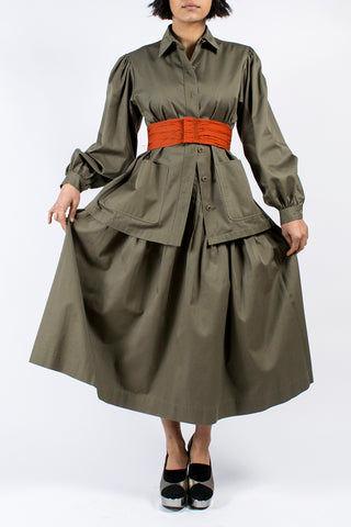 YSL Yves Saint Laurent Vintage Olive Khaki Skirt & Jacket Safari Inspired Ensemble - Dressing Vintage