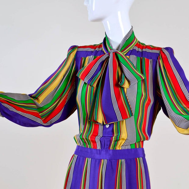 1980's vintage striped Yves Saint Laurent Rive Gauche Dress pussybow