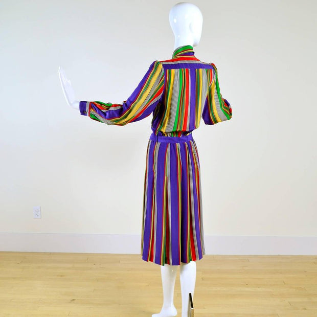 Vintage striped YSL dress documented 1982