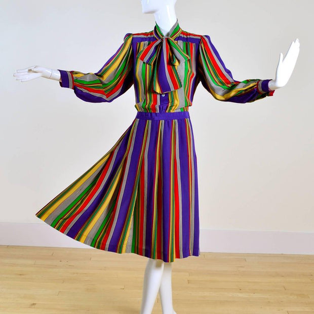 YSL pleated pussybow vintage dress with stripes size 6