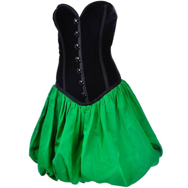 Vintage 80's green bubble hem dress with strapless velvet bodice YSL Yves Saint Laurent