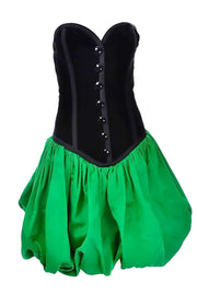 Yves Saint Laurent Vintage Strapless green black bubble dress velvet
