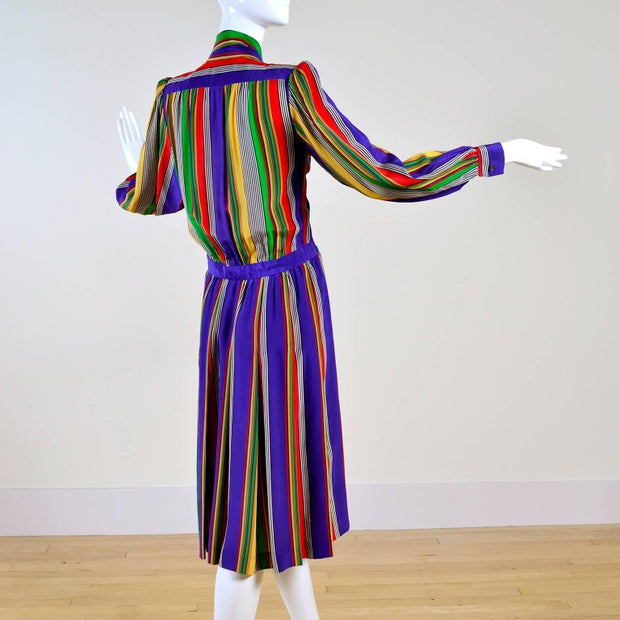 Vintage 1980s Yves Saint Laurent striped silk day dress
