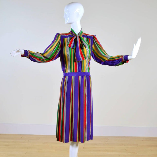 Striped silk vintage 1980's Yves Saint Laurent dress