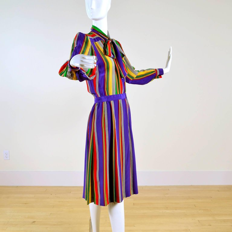 Dressing Vintage long sleeve striped silk colorful vintage dress. Documented 1982 and photographed by Helmut Newton