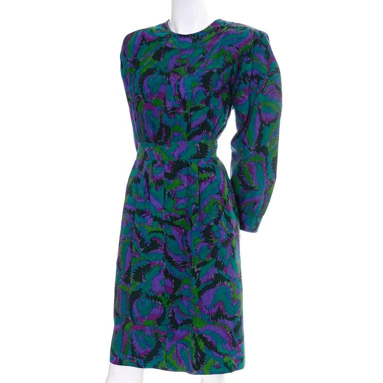 80's Yves Saint Laurent vintage dress with green, purple and blue abstract painted looking design