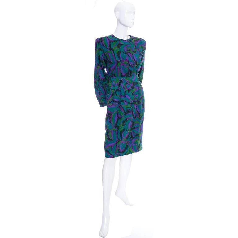 Abstract design vintage YSL wool dress 1980s