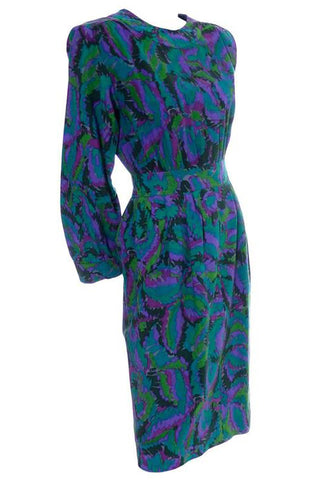 1980's Black and Green Floral Organza Vintage Dress and Caftan Custom Isabell Gerhart
