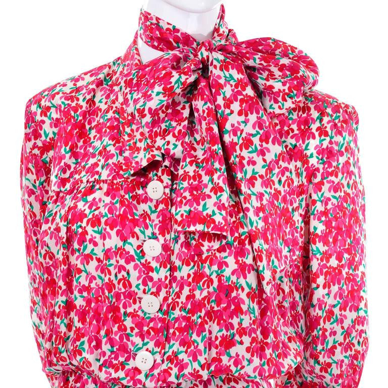 Yves Saint Laurent 1970's Pink Floral Dress and Sash