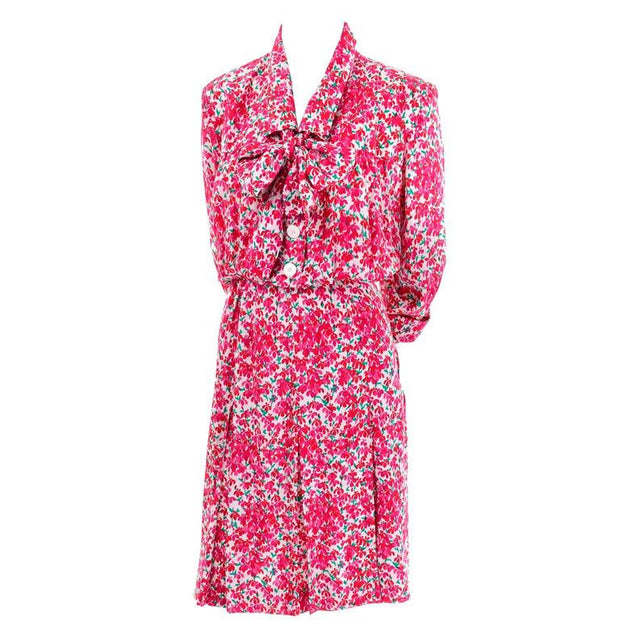 1970's vintage silk Yves Saint Laurent floral dress