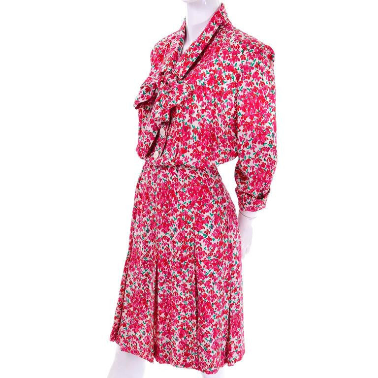 70's YSL pink floral dress and matching sash vintage womens