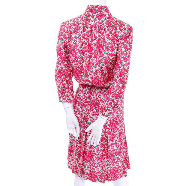 Yves Saint Laurent 70's Silk Dress with pink flowers and matching belt sash