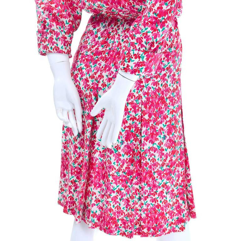 Pink floral pattern silk Yves Saint Laurent 1970's vintage dress