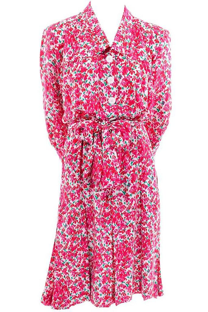 Pink floral silk Yves Saint Laurent vintage women's dress from the 1970's