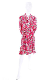 1970s Yves Saint Laurent YSL pink floral silk pleated dress