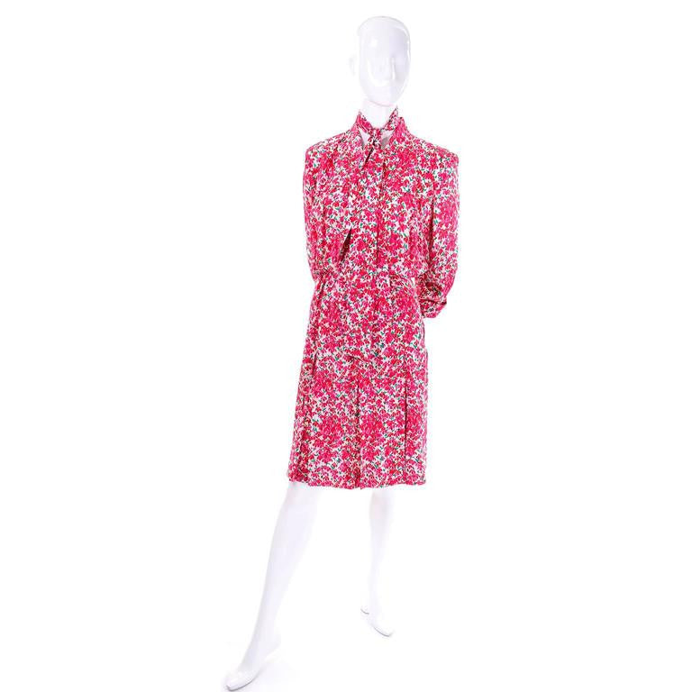 Vintage Yves Saint Laurent YSL 1970's pink floral silk dress size 10
