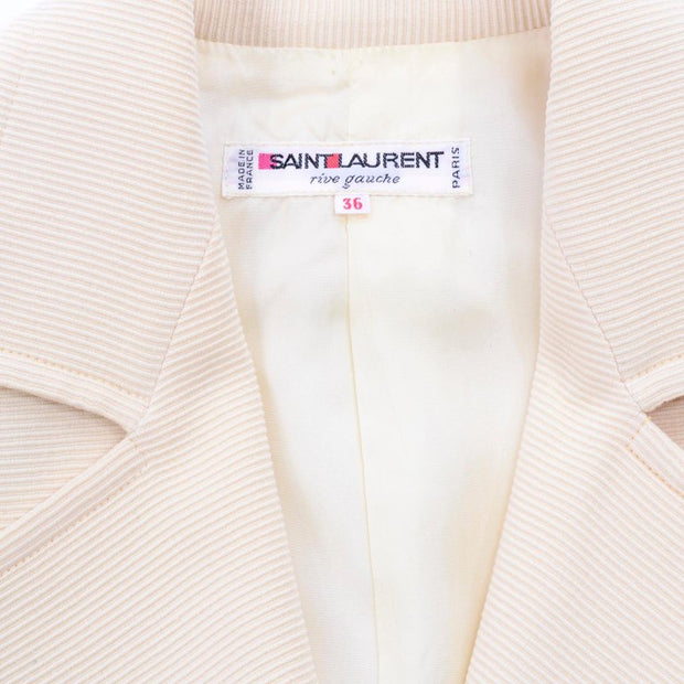 1970s Yves Saint Laurent Cream Open Front Cropped Jacket