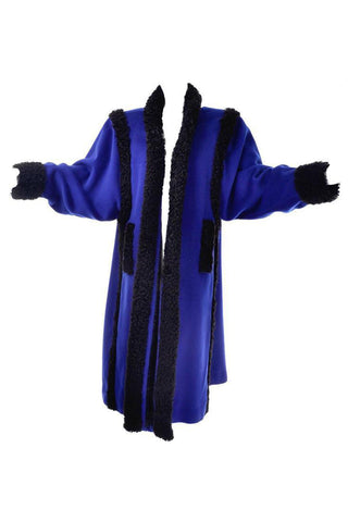 80s YSL Rive Gauche Oversized Blue Wool Vintage Long Coat