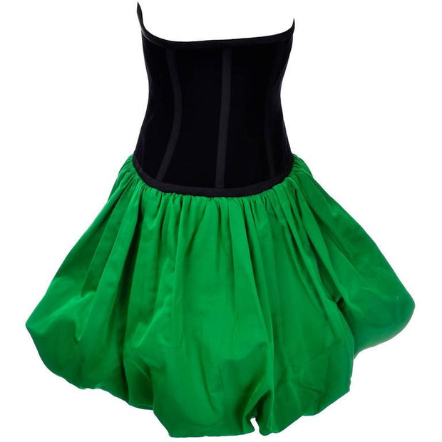 Boned strapless bodice for a 1986 Yves Saint Laurent Bubble Dress in Green & Black