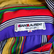 1980's Yves Saint Laurent Rive Gauche Made in Paris France Vintage Silk Striped Dress size 36