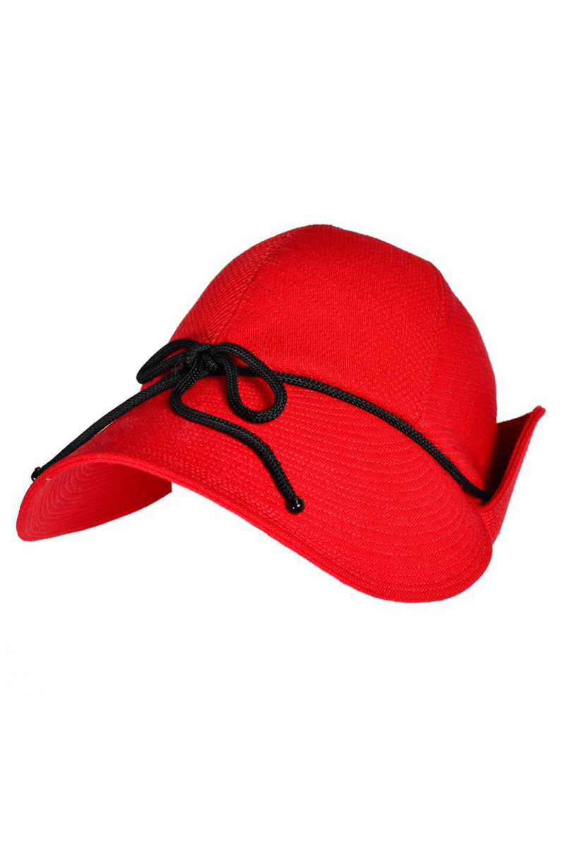 88b083e2d01 1970s Yves Saint Laurent YSL Vintage Hat Double Flaps Red with Black Trim