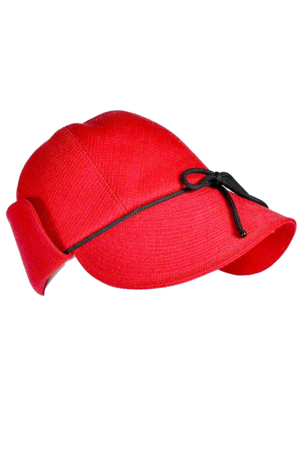 31642c85000 Yves Saint Laurent 1970s Red Deerstalker Hat Vintage YSL Rain Flap ...