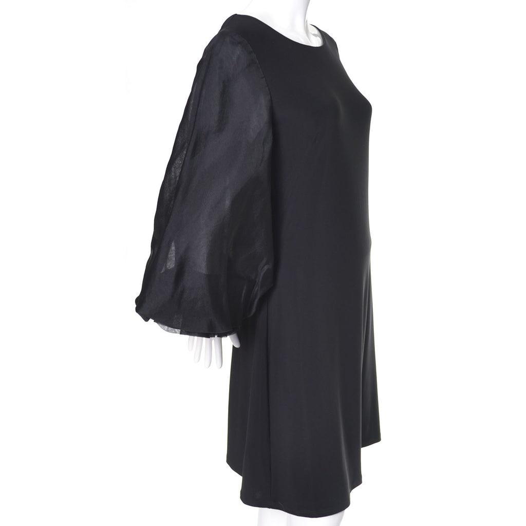 Vintage Statement Sleeves ABS Cocktail Dress Black