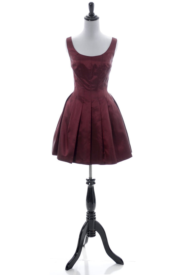 Vintage ABS iridescent oxblood red satin party dress mini SOLD - Dressing Vintage