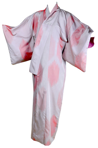 1930's Haori Kimono Orange Hibiscus Flower Print On Peach Silk