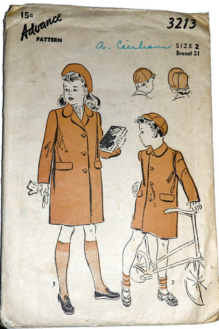 Advance 3213 Childrens Coat vintage Pattern