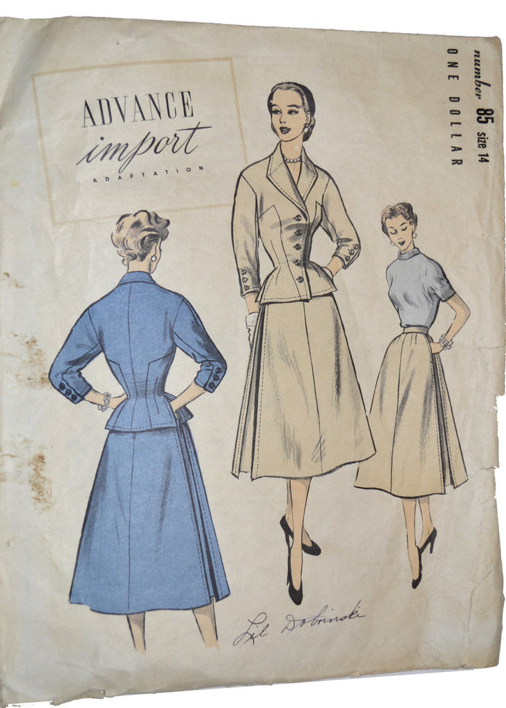 Vintage rare sewing pattern Advance 85
