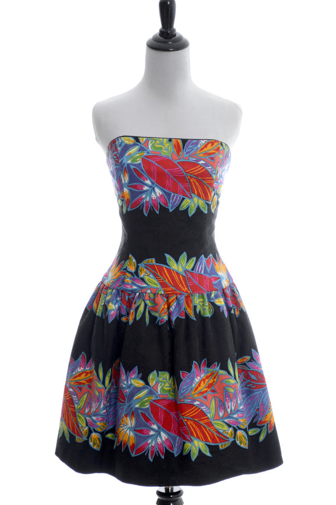 Vintage Dress strapless floral