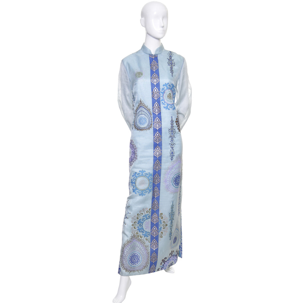 Alfred Shaheen Vintage Caftan Maxi Dress Blue